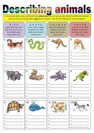 Free Adjective Worksheets Describing Animals Adjectives Worksheet Free Esl Printable