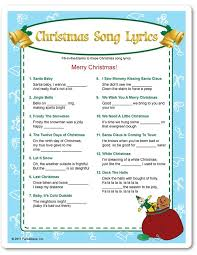 free printable christmas song lyric games free printable christmas song games for adults christmas fun zone