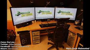 best gaming room tour pc xbox 360 racing simulator huge screens
