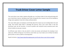 Resume Sending Mail Sample by Truck Driver Cover Letter Sample Pdf
