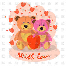 valentine u0027s card with cute cartoon teddy bears vector image