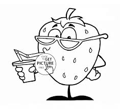 funny strawberry fruit coloring page for kids fruits coloring