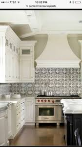 Cement Tile Backsplash by White Kitchen With Dark Island Cement Tile Backsplash And White