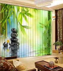 2017 fashion 3d home decor beautiful bamboo stone custom curtain