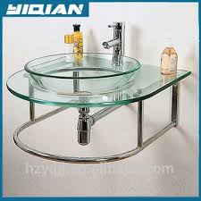 wall mount glass sink south america glass basin design stainless steel frame support wall