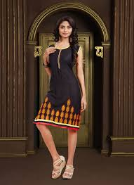 fancy fabric black embroidered work party wear kurti