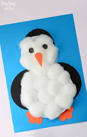 cotton balls penguin craft easy peasy and