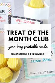 gift of the month club gift idea printable treat of the month cards monthly