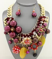 necklace chunky images Brilliant chunky glass beaded link necklace d 39 angelette jpg