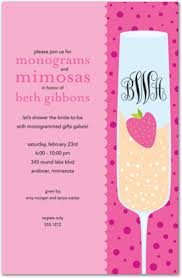 mimosa brunch invitations cherry pink chagne monograms mimosas invitation stationery