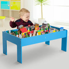 wooden train set table 108pc 83pc wooden train set table track kids toy pretend play