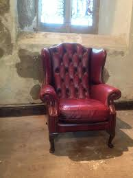 Queen Anne Armchair Vintage Chesterfield Armchair Queen Anne High Back Fireside Wing