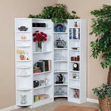 Corner Bookcase Ideas White Corner Bookcase Unit In Prissy Image Shelf Storage Ideas