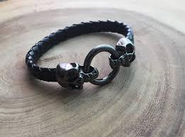 black skull bracelet images Skull bracelet black skull memento mori bracelet black leather jpg