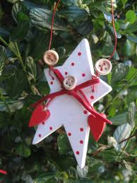 wooden star christmas tree decorations set of 2 shabby chic