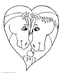 horses valentine coloring page