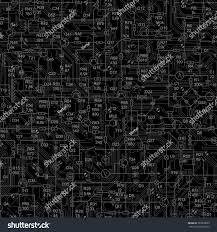 Radio Black Background Vector Black Seamless Background Electrical Circuit Stock Vector