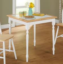 dining room tile 3 piece tile top dining set white natural walmart com
