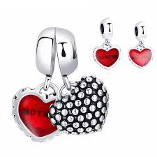 double heart charm bracelet images Double heart charm pair for mother and child fits pandora trinqz jpg