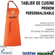 tablier cuisine personnalisé pas cher tablier de cuisine orange masterchef prenom personnalisable