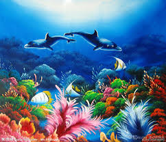 framed the undersea world high quality seascape art oil painting