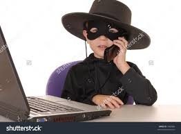Laptop Help Desk Child Costumed Zorro Laptop Helpdesk Stock Photo 1962982
