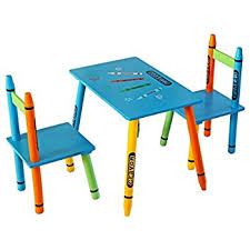 kiddi style childrens wooden table and chair set blue amazon co