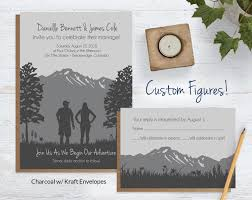 mountain wedding invitations with custom silhouettes blue