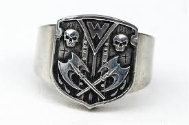 modern skeleton ring holder images Custom skull flames and axe shield family crest ring by rock my jpg