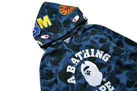 ape bape a bathing shark hooded hoodie coat camo full zip jacket
