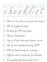 of honor planner of honor checklist the overwhelmed wedding