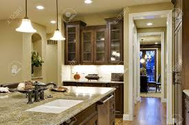 kitchen island counter kitchen view looking towards butler u0027s pantry stock photo picture