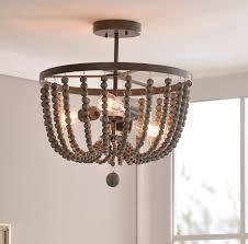 wood bead ceiling light tilden wood bead 3 light semi flush mount reviews birch lane