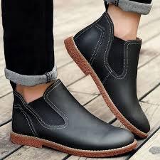 s boots sale stitching pu leather slip on ankle boots black 43 sale