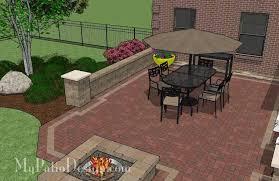 Backyard Brick Patio Design With 12 X 12 Pergola Grill Station by Backyard Brick Patio Design With Fire Pit Download Plan