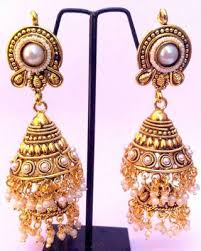 gold earrings for marriage buy decker pearl jhumka south indian temple style bridal