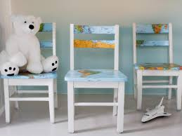 upcycle a plain kids u0027 chair with a decoupaged map hgtv