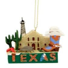 texas state with bluebonnets christmas tree ornament made in texas