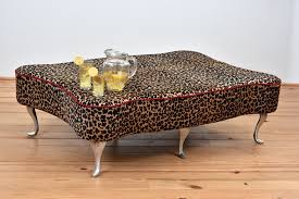 coffee table contemporary leopard print ottoman bench leather