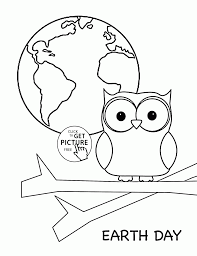 cute owl and earth planet earth day coloring page for kids