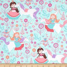 michael miller unicorn princess seafoam from fabricdotcom