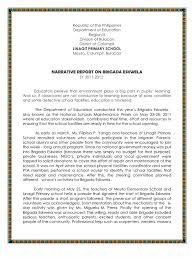 narrative report on brigada eskwela classroom volunteering