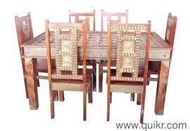 sheesham wood solid square table with brass fitted dining table with chairs used home office furniture in india
