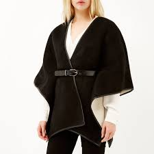 river island black belted shearling cape in black lyst