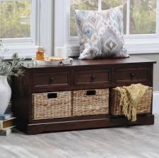 brown 6 drawer storage bench with baskets kirklands