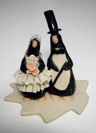 animals comical wedding cake toppers funny penguins wedding cake