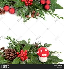 winter festive border with decoration of fly agaric mushroom