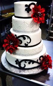 red black and white wedding cake with diamond ribbon wedding