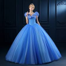 Beautiful Wedding Dresses 2016 Sale Cinderella Cosplay Costume Cheap Blue