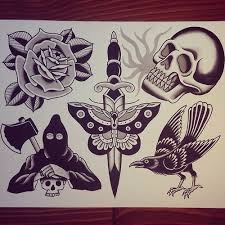 flash traditional tattoos and on